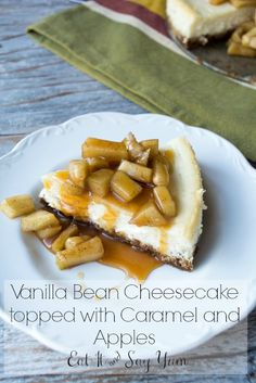 Caramel and apples is, obviously, a winning combination. Right? Well, let's combine that with some cheesecake. And not just ANY cheesecake, how about some smooth and creamy, vanilla bean cheesecak...