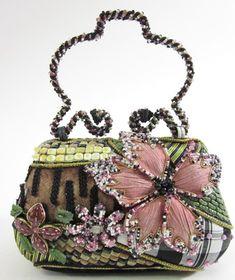 MARY FRANCES Beaded Floral Handbag