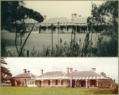 Marida Yallock, Boorcan (200km SW of Melbourne). In 1854 pioneer Daniel MacKinnon acquired the lease and built the first section of the homestead in Scottish vernacular style. In the 1860s-70s the central block and north wing were added in unusual harled bluestone (rough-textured lime plastering, common in Scotland). MacKinnon's descendants still occupy the homestead and have maintained and preserved the house, outbuildings and garden essentially in 19thC condition.