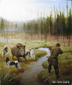 Охота на кабана с собаками Hunting Art, Hunting Dogs, Seven Horses Painting, Mountain Man Rendezvous, Man Vs Nature, Cowboy Pictures, Pig Art, Deer Art, Dog Paintings