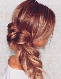 Balayage cuivré sur cheveux blonds foncés