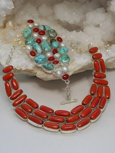 Turquoise Jewelry Necklace *Coral Necklace 1 - Magnificent polished cabachon enhanced red Coral gemstones, set in sterling silver overlay. Largest vertical gemstone dimension: Coordinating bracelet available separately. Turquoise Jewelry, Silver Jewelry, Jewelry Necklaces, Statement Necklaces, Bracelets, Coral Turquoise, Red Coral, Blue Topaz Necklace, Lapis Lazuli