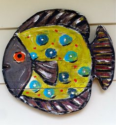 Large ReCyCled Wood Fish Brown Apple Green by recycledwoodart, $42.00