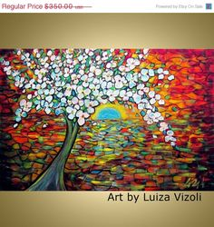 Original Art on Canvas Whimsical APPLE TREE Flowers by LUIZAVIZOLI, $280.00