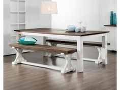 Create your own seaside sanctuary with the Brighton 3 piece dining suite & buffet. Chunky Dining Table, Dining Set, Dining Bench, Dining Room, Dining Suites, Brighton, New Homes, 3 Piece, Bondi Beach