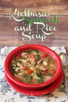 Kielbasa, Spinach and Rice Soup