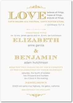 Corinthians Wedding Invitation - beautiful vintage feel perfect for a Christian wedding