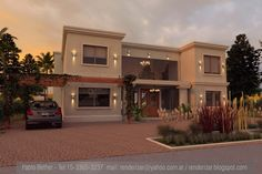 A sort of swank Mediterranean look. (Shown: Casa Country Santa Catalina) Bungalow House Design, House Front Design, Modern House Design, Casas Country, Houses Of The Holy, Kerala House Design, Mediterranean Style Homes, Modern Mansion, Duplex