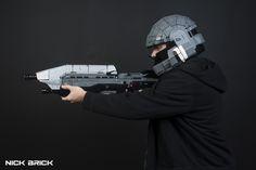 """ODST Helmet - Halo"" by Nick Brick: Pimped from Flickr Halo Cosplay, Lego Toys, Lego Creations, Bricks, Helmet, Hockey Helmet, Brick, Helmets"