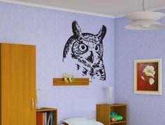 Owl Head Sticker Wall Vinyl Decal Smart Bird Mural Decor Gift  #069 #HomeOfStickers