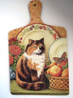 Vintage Cutting Board by Jenny Barron - Tabby Cat Kitten - Wilscombe Melamine - Collectible - Country Kitchen - Shabby Chic - Wall Decor by shabbyshopgirls on Etsy