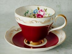 Gold Gilt and Cherry Red Teacup and Saucer Set - Tea Cups and Saucers - Red Cup and Saucer Set