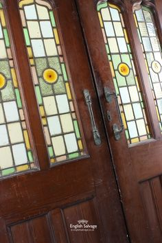 (Set38) Victorian Stained Glass Double Doors