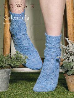 Calendula Socks by Sarah Hatton in Rowan Fine Art: http://www.mcadirect.com/shop/rowan-fine-art-100g-hank-p-5571.html