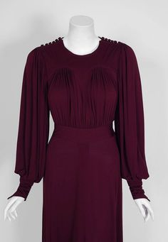 1969 Ossie Clark for Quorum Plum Purple Ruched Silk Jersey Billow-Sleeve Dress image 2