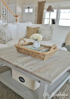 Family Room Reveal-Thrifty, Pretty & Functional. Great coffee table.