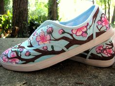 cherry blossom shoes - hand crafted