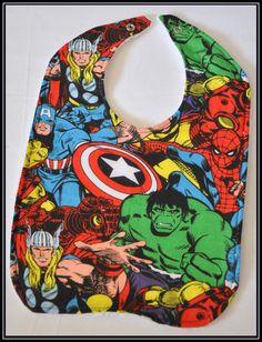 Avengers Cartoon Cotton Bib with White Terry Cloth - Geek-a-bye Baby -- Comic Geek - Handmade