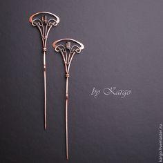 Купить Шпильки madam Laval - коричневый, раухтопаз, медь, art nouveau, wire wrap