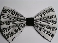 Music notes fabric hair bow clip, Hair clips for kids and teens, hair clips for women, small hair bows. $3.50, via Etsy.