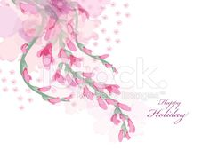Watercolor flowers pink wisteria card royalty-free stock vector art