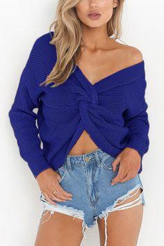 Blue Crossed Front Design V-neck Long Sleeves Reversible Sweater