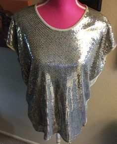 NEW NWT MICHAEL KORS BEIGE GOLD SEQUIN FRONT SLEEVELESS TOP  sz. S  | eBay