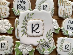 Sugar Cookie Royal Icing, Sugar Cookies, Cookie Wedding Favors, Weeding Favors, Wedding Cake, Party Favors, Succulent Cupcakes, Royal Icing Transfers, Birthday Cookies