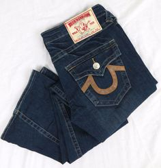 True Religion Women's Jeans 31 x 34 Joey Super T Flared Boot Denim Flap Pocket #TrueReligion #Flare