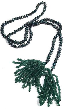 SPECTACULAR CULTURED PEARL AND MICTO GLASS BEAD TASSLE LARIAT FLAPPER NECKLACE #Lariat