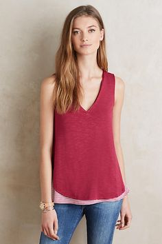 Weekdays Layered Tank - anthropologie.com: I really like the peak of pattern in the underlay. I love this in blue as well (especially the polka dot pattern).