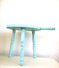 Milk Maid Chair ~ Mint Sea Foam Blue Wooden Painted Sitting Stool With Handle Rustic Chippy Paint on Etsy, $30.00