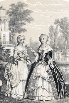 A 19th century illustration of Madame Campan and Marie Antoinette.