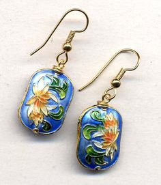 "Gorgeous cloisonne pillow beads with lovely floral motive)    Great size as well - beads itself are 20mm*15mm    Earrings are 1.5"" long, pair will come in a gift box)    Ear wire - gold plated) Last pair in this color - as shown on photos 1 and 2)"