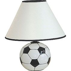 Ceramic Soccer Ball Table Lamp $20.00 - Sporty soccer ball shape is perfect for an athletic-theme room. Made of ceramic with a linen shade. Requires a standard bulb 60 Watts(not included)