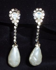 Vintage 1940s Rhinestone Drop Earrings Pearl by ChevyLovesLaura, $20.00