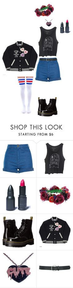 """""""Bullet To My Heart"""" by flyawayangel337 ❤ liked on Polyvore featuring Manoush, LunatiCK Cosmetic Labs, Rock 'N Rose, Dr. Martens, M&Co and Leg Avenue"""
