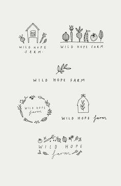Hand drawn logo designs Logo design by R & F design. Hand drawn, organic, farm logo designs for Wild Food Logo Design, Logo Food, Logo Design Services, Branding Design, Hope Logo, Kitchen Logo, Farm Logo, Organic Logo, Hand Drawn Logo