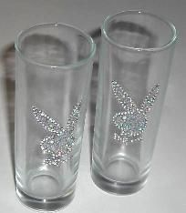 Two Faux Diamond Playboy Tall Shot Glasses New in Plastic - 4 inch tall $9.00