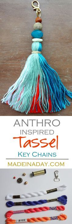 How to make large tassel key chains to hang on your purse, keys or home decor. Anthro hack easy craft, key fob,