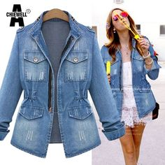 Denim Jacket with Ripped Design