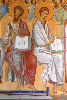 Апостолы Варфоломей и Филипп Apostols Bartholomew and Philip fresco (secco) in Minsk by hands of Anton DAineko to see more check here http://ikona-skiniya.com/index.php/ru/2011-12-19-14-27-20/item/43-apostoly-varfolomej-i-fi