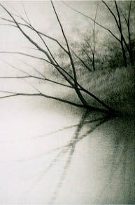 Waterfront, Summer Conte, from the Reflected on Water series, 2003, drypoint etching, by Shigeki Tomura