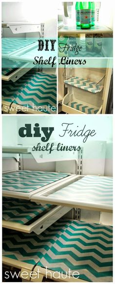 DIY Refrigerator Shelf Liners tutorial- by SWEET HAUTE using dollar store price clearance place mats and contact shelf liner paper craft project idea for organizing and streamlining your kitchen that is inexpensive, budget friendly, kid friendly, frugal, cheap, fast, quick, and easy. The aqua turquoise teal color makes you smile every time you open the fridge. Pin now....make later!