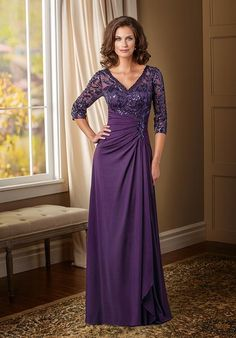 2016 Vintage Grape Mother Bride Dresses V Neck 3/4 Long Sleeves Sequins Chiffon Floor Length Backless Mother Of The Bride Dresses 2015