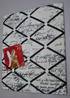 Script French memo board / fabric wall art by MemoBoardsNMore Fabric Memo Boards, Fabric Bulletin Board, Fabric Wall Art, Bulletin Boards, Cork Board Projects, Fun Projects, Pin Boards, Photo Boards, French Memo Boards