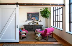 Sliding barn door hiding small living room with indoor tree, pink furniture, and modern art