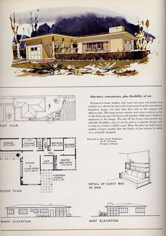 Mid Century Retro House And Floorplan, Someday Iu0027ll Have A House Like This