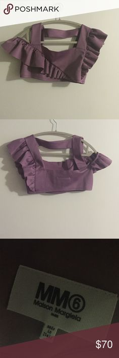 MM6 lilac purple cropped top Off the shoulder detail. Never worn Maison Margiela Tops Crop Tops