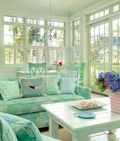 Sunrooms marry the comforts of indoor living with the freedom of being outside. There should be playfulness in the interior design of a sunroom… and there are creative liberties that can be explored! This week, Hatchett Design Remodel shares their favorit Living Room Colors, Living Rooms, Living Spaces, Home And Deco, Beach Cottages, Beach Houses, Coastal Living, Cottage Living, Coastal Cottage